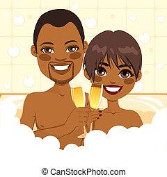 americano, africano, par, relaxante, banho