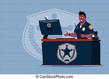 americano africano, policial, trabalhar computador,...