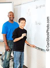 americano africano, profesor, con, estudiante