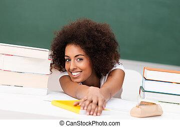 americano, africano, relaxado, estudante, jovem