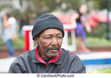 americano, africano, senzatetto, uomo