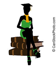 americano, africano, silueta, ilustração, graduado