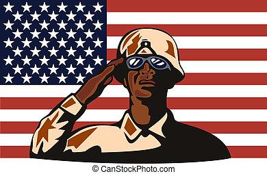 americano africano, soldado, saudando