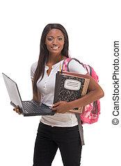 americano africano, studente università, con, laptop pc