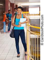 americano, africano, università, STUDENTE, femmina