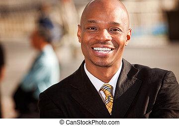 americano africano, uomo affari