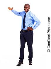 americano africano, uomo affari, presentare