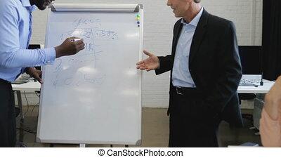 americano africano, uomo affari, scrittura, suo, idee, bianco, asse, businesspeople, squadra, discutere, nuovo, piano, durante, riunione, in, boardroom, in, ufficio