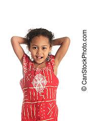 americano afro, bonito, menina, com, pretas, cabelo ondulado, isolado, mulheres, metisse
