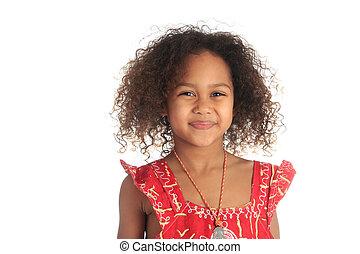 americano afro, bonito, menina, com, pretas, cabelo ondulado, metisse