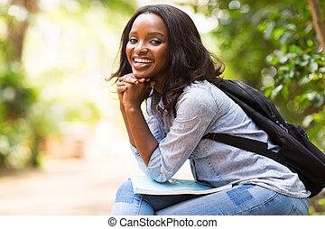 americano afro, faculdade, aluno feminino