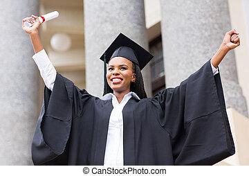americano, afro, femininas, graduado