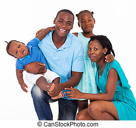 americano, afro, isolado, família, feliz