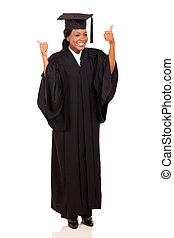 americano, afro, universidade, femininas, graduado