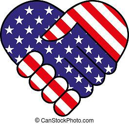 americano, agitação mão