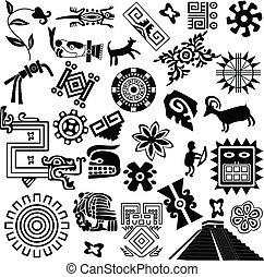 americano, antico, disegni elementi