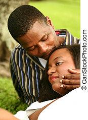 americano, ao ar livre, par, africano, romanticos