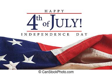 americano, augurio, bandiera, giorno, indipendenza