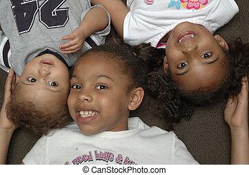 americano, bambini, africano