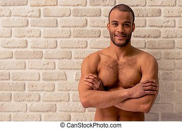 americano, bello, afro, uomo