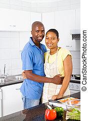 americano, bello, coppia, africano