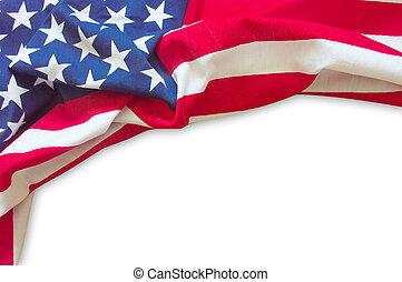 americano, borda, bandeira, isolado