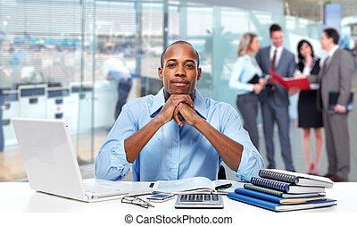 americano, businessman., africano