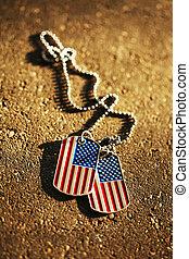 americano, cão, bandeira, fundo, etiquetas