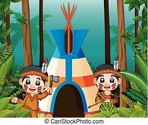 americano, campsite, indigenas, dois, menina
