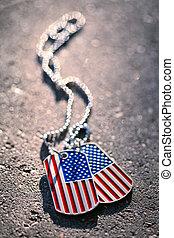 americano, cane, bandiera, fondo, etichette