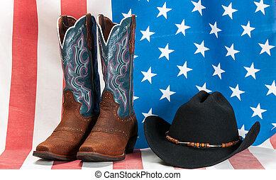 americano, cappello, bandiera, stivali