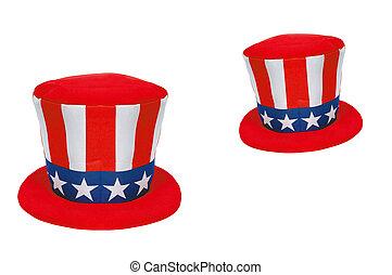 americano, cappello, simbolo
