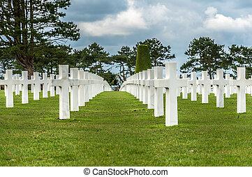 americano, cemitério militar, de, a, caído, durante, a, aterragem, em, normandy, ligado, d, dia