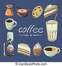 americano, choklad, kuper, chemex, cezve, hand-drawn, butik, gå i flisor, mysig, kock, vektor, kaffe, milkshake, machine., cupcake, tårtor, espresso, sätta, cappuchino, färgrik