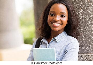 americano, cidade faculdade universitária, estudante, africano