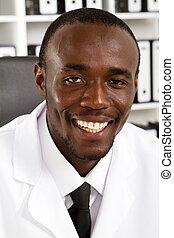americano, cientista, macho, africano
