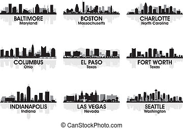 americano, città, orizzonte, 2