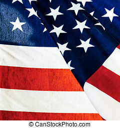 americano, closeup, bandiera