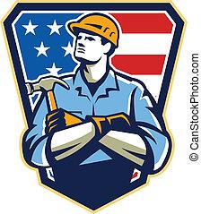 americano, construtor, carpinteiro, martelo, crista, retro