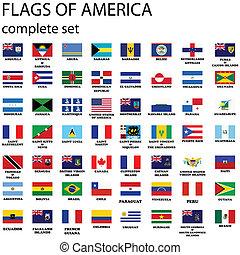 americano, continente, bandeiras
