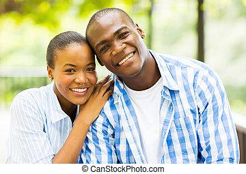 americano, coppia, africano