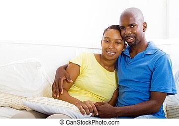 americano, coppia, rilassante, africano