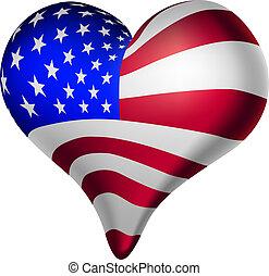 americano, corações, e, mentes