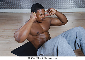 americano, crunches, ups, africano, sentar