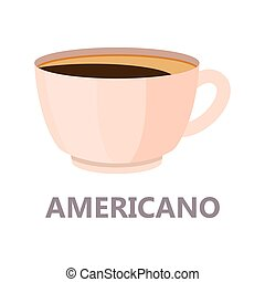 Americano cup of the coffee. Brown drink