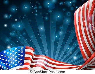americano, desenho, bandeira, fundo