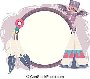 americano, disegno, cornice, illustrazione, nativo