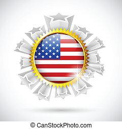 americano, distintivo, bandiera