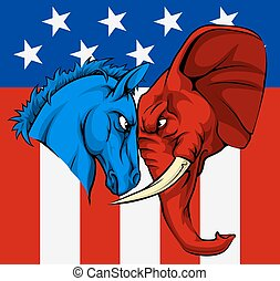 americano, eleição, burro, elefante, conceito
