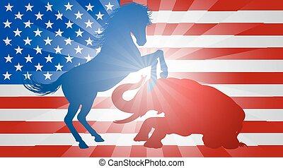americano, eleição, conceito, burro, batendo, elefante